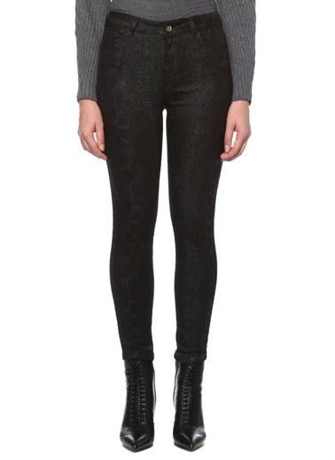 NetWork Kadın 1077050 Slim Fit Yılan Desenli Casual Pantolon Kahve